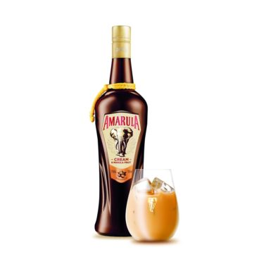 Amarula bottle with a glass